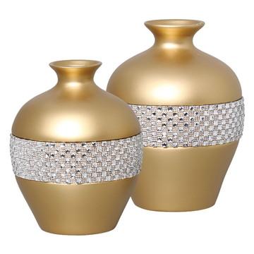 Par de Vasos Bojudos Dourados p/ aparador