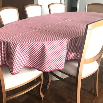 Toalha de Mesa Oval Xadrez vermelha