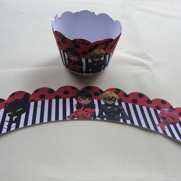 Saia e topper para cupcake Ladybug pacote com 12 unidades