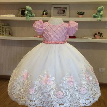 320fc8b22 Vestido Branco e Rosa para Daminhas - Infantil