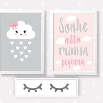 Quadros decoração menina nuvem - A4