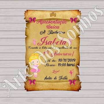 Convite pergaminho Bailarina loira