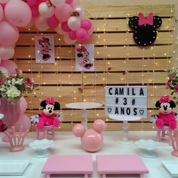 Decoração de festa Minnie Rosa Locação