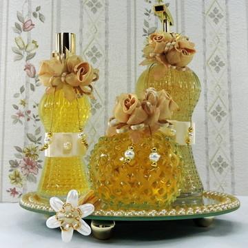 Kit Lavabo ou Banheiro Flor de Organza 3 peças