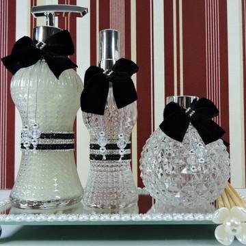 Kit Lavabo ou Banheiro Laço de Veludo com 3 peças