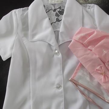 Jaleco Infantil Feminino de manga curta com touca e mascara