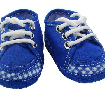 Sapatinho de bebe Tênis Azul e Branco Xadrez