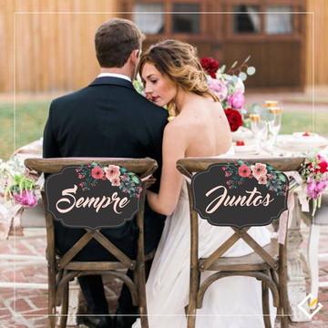 Placas cadeira dos noivos personalizadas