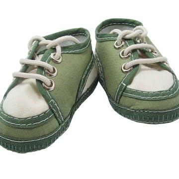 Sapatinho de bebê Tênis Verde Militar