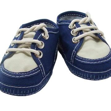 Sapatinho de bebê Tênis Azul Marinho e Bege