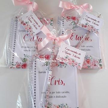 Caderno Personalizado Dia dos Professores Floral Feminino