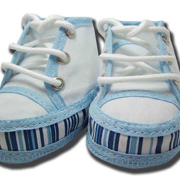 Sapatinho de bebê Tênis Branco e Azul Cano Alto