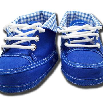 Sapatinho de bebê Tênis Azul Royal Xadrez