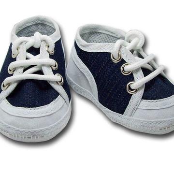 Sapatinho de bebê Tênis Branco e Jeans