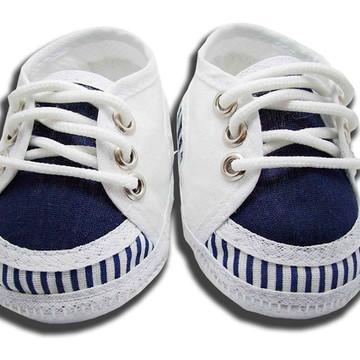 Sapatinho de bebê Tênis Branco e Azul