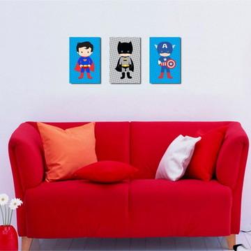 3 Quadros Super Heróis Baby