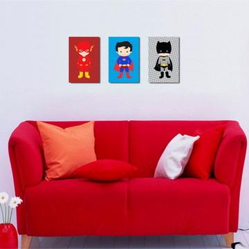 3 Quadros Super Heróis Infantil