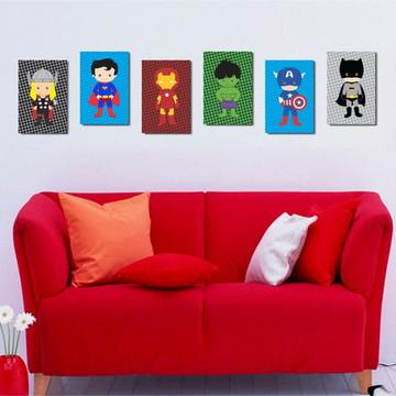 6 Quadros Heróis Baby