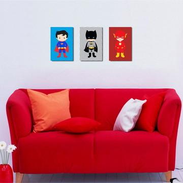 3 Quadros Super Heróis Cute