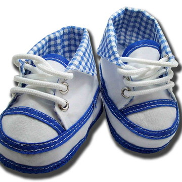 Sapatinho de bebe Tênis Coturno Azul e Branco Xadrez