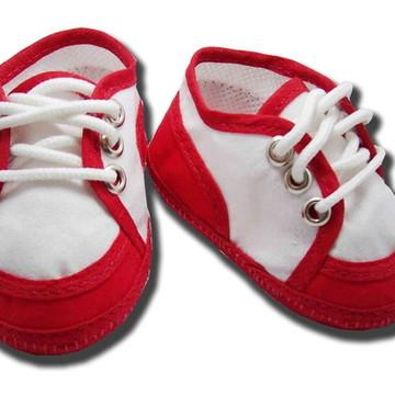 Sapatinho de bebe Tênis Branco e Vermelho