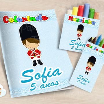 Kit colorir giz massinha Soldadinho de Chumbo