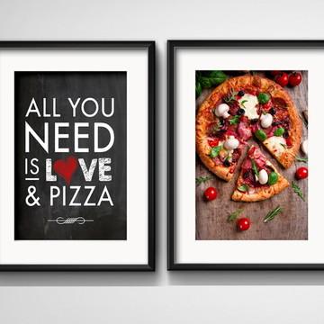 2 Quadros Pizza Love Frase Decoração com Paspatur