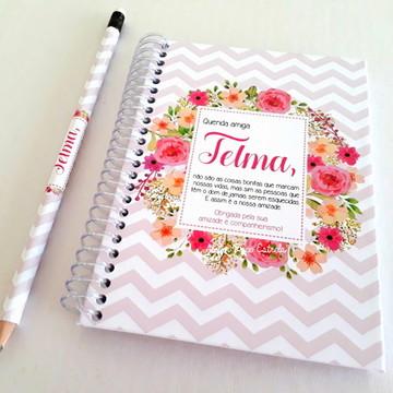 Caderno Personalizado -Dia dos Professores Floral Feminino 2