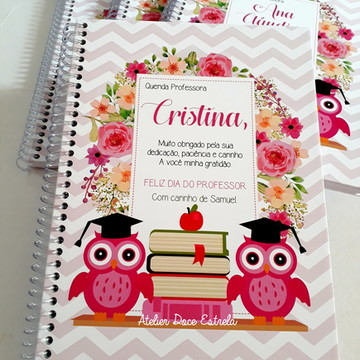 Caderno Personalizado -Dia dos Professores Coruja Floral