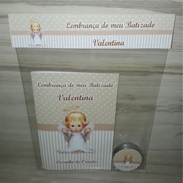 Livrinho de Orações + Latinha com Mini Terço Batizado Menina