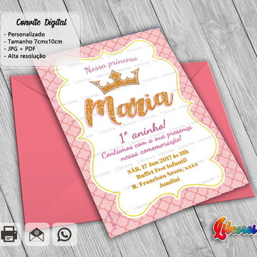 Convite Digital Princesa - Reinado