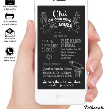 Convite Digital Chá de Casa Nova estilo Chalkboard