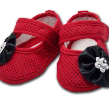 Sapatinho de Bebê Vermelho e Preto Poá