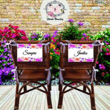 Placas Cadeiras Noivos com Flores
