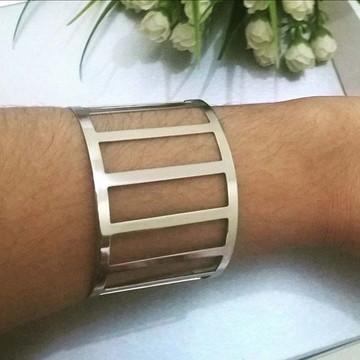 Bracelete Feminino da Moda Folheado em Prata