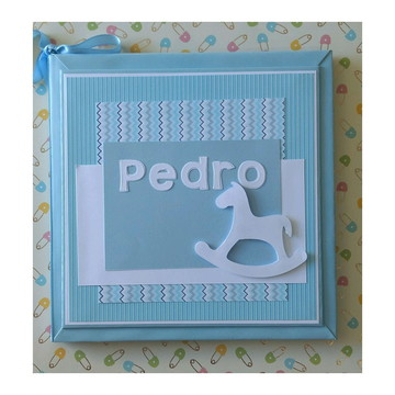 livro do Bebê menino Cavalinho de Pau scrapbook