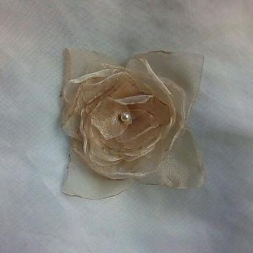 Flor de Organza Cristal/ Acessório/Aplique