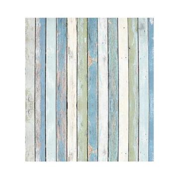 Papel de parede madeira de demolição branco, cinza e azul