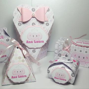 Kit Chá de Bebê Elefantinha Rosa - Arquivo de corte