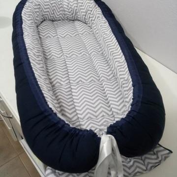 Ninho de bebê redutor para Berço Chevron Cinza Dupla Face M