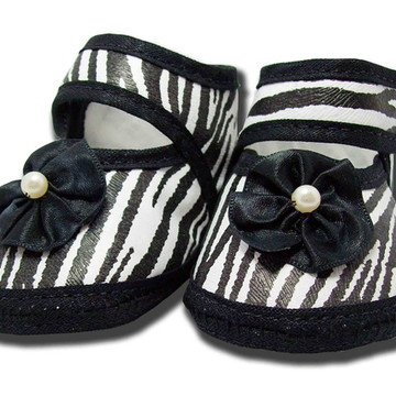 Sapatinho de Bebê Preto e Branco Zebra