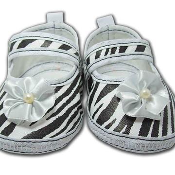Sapatinho de Bebê Branco e Preto Zebra
