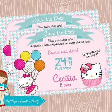 Arte Save the Date ou Convite Hello Kitty