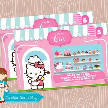 Arte para Convite Hello Kitty confeiteira