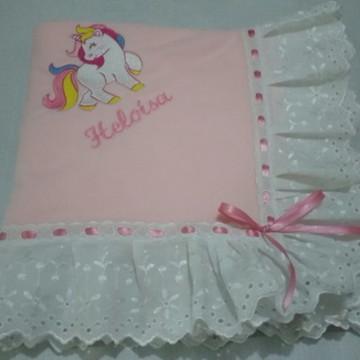 Manta bebê soft rosa com bordado ingles2
