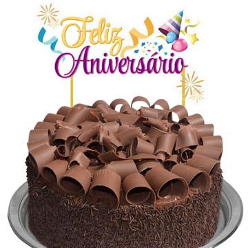 Topo de bolo 3D - Feliz Aniversário