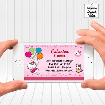 Convite Digital Aniversário Hello Kitty - Horizontal