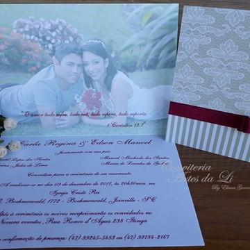 Convite Casamento Marsala com Foto