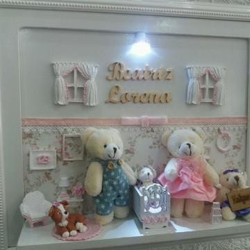 Quadro porta de maternidade familia Urso