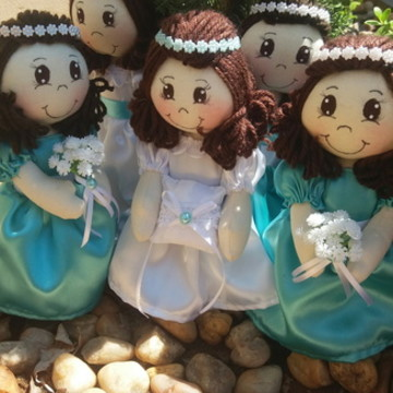 Boneca de pano noivinhas convite para daminhas